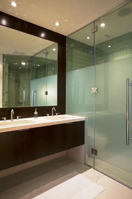SCM Design Group glass shower, half frosted