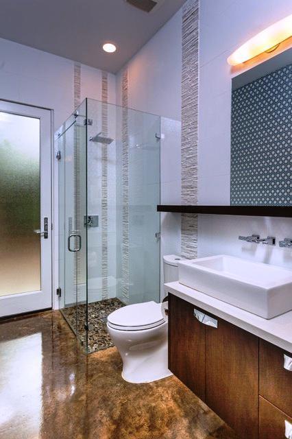 SCM Design Group stylish frameless shower with stackstone tile