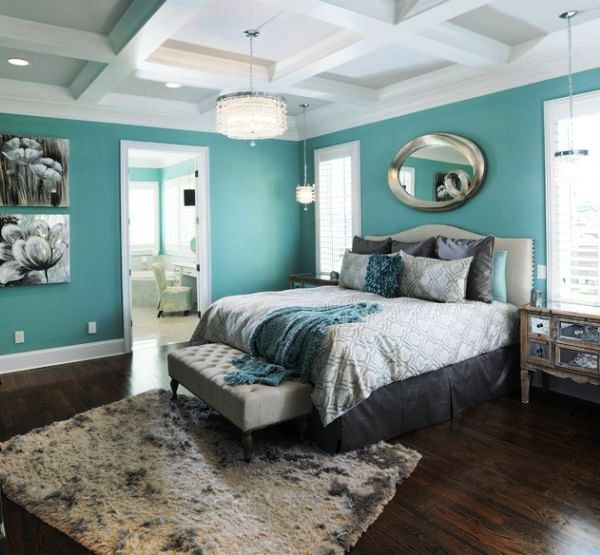 SCM Design Group blue bedroom with abstract ceiling