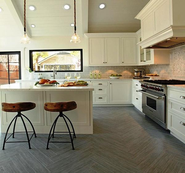 SCM Design Group herringbone wood tile in kitchen