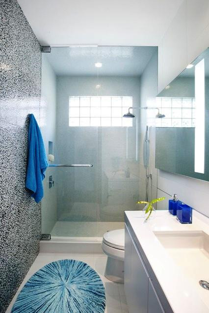 SCM Design Group shower with blue glass