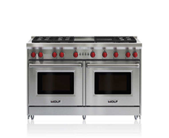 SCM Design Group double oven range with red knobs