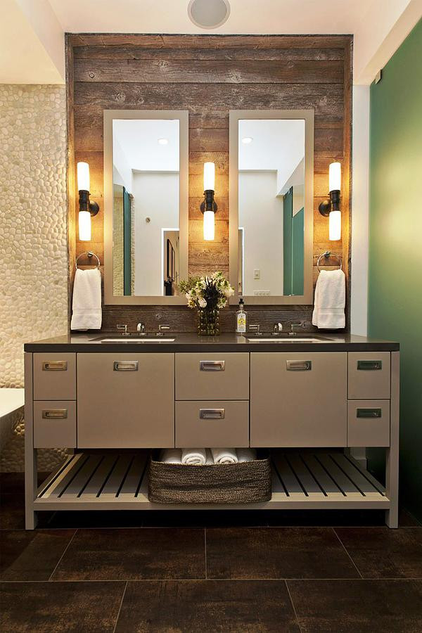 SCM Design Group wall sconces with rustic wood