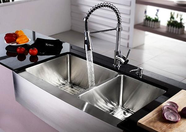 SCM Design Group stainless steel two bowl sink