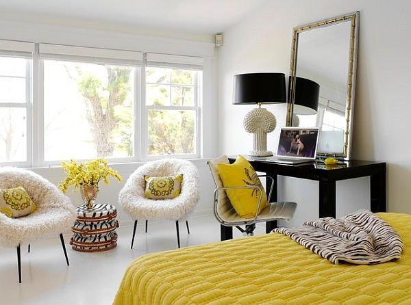 SCM Design Group white bedroom with sunflower yellow decor