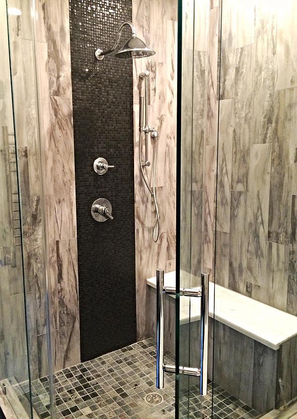 SCM Design Group, modern, frameless shower with mixed materials