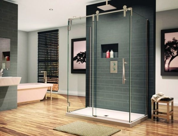 SCM Design Group frameless shower in sleek spacious bathroom