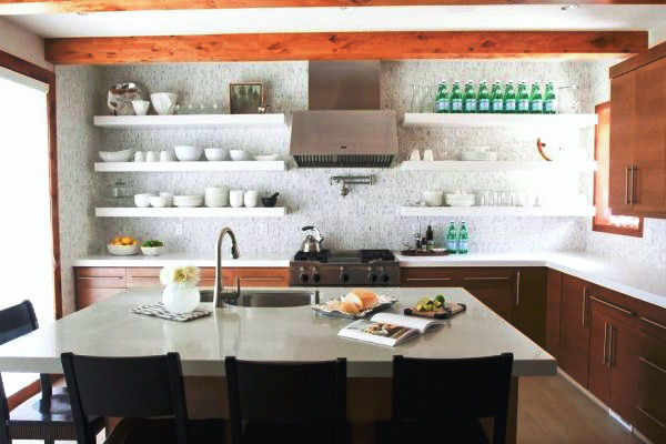  SCM Design Group white floating shelves in kitchen with exposed beams