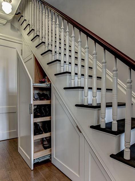 Hidden Storage under stairs, Interior designer The Woodlands, Pablo Arguello, TWRS Painting Contractors