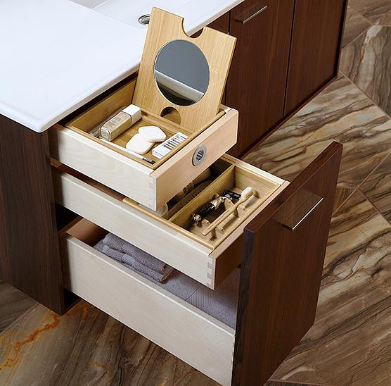 SCM Design Group multi-stacking storage in vanity
