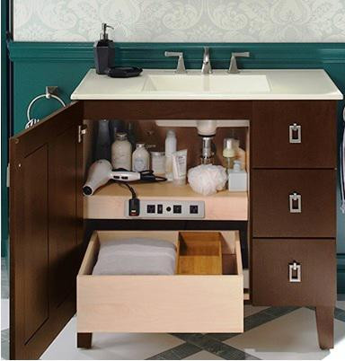 SCM Design Group pullout drawer in storage cabinet