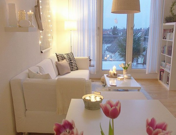 SCM Design Group clean white living space with delicate lighting