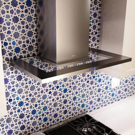 SCM Design Group modern range over abstract backsplash