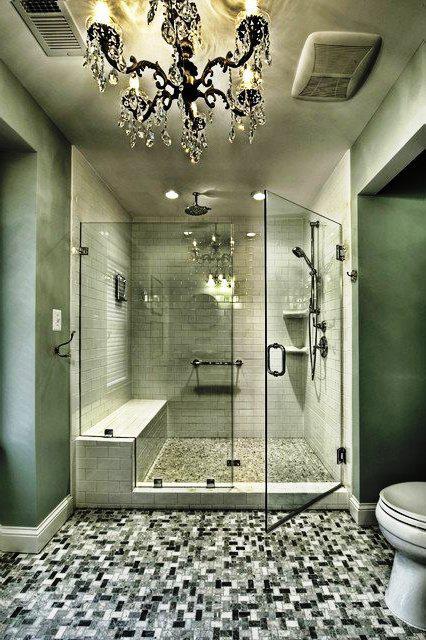 SCM Design Group, frameless shower with subway tiles