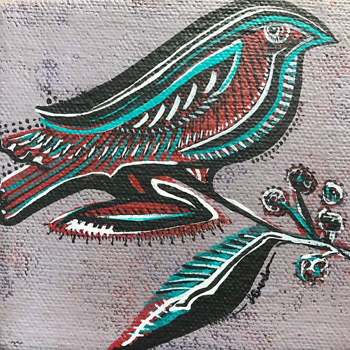 J'Brenta Jordan, green and red bird