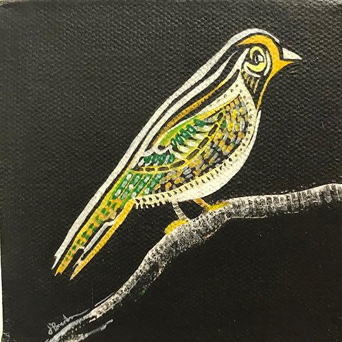 J'Brenta Jordan, yellow bird on black