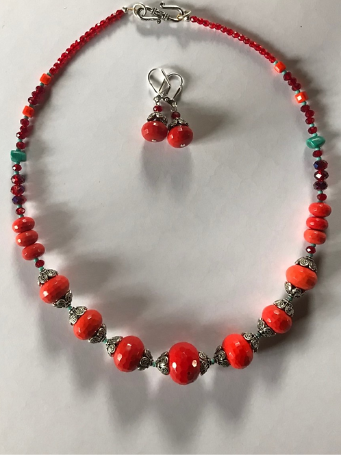 "Georgia Gersh, ""coral"" necklace and earring set"