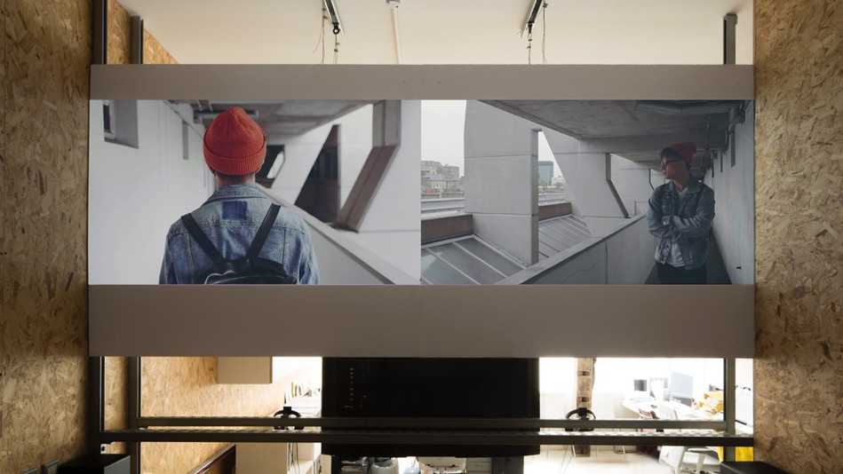 The Details Are Invented, 2-channel HD video, 10 MIN., 2017, installation view
