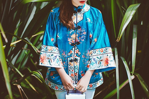 BLUE PAGODA Silk Embroidered Jacket