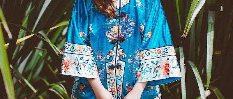 BLUE PAGODA Silk Embroidered Jacket