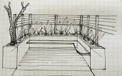 Garden benching and fencing sketch