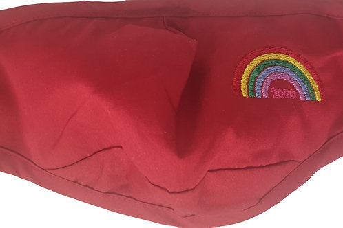 Embroidered Rainbow Face Mask - RED