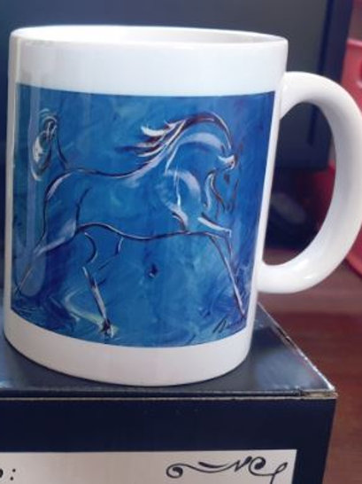Black 11oz colour changing mug 'Horse - Blue'
