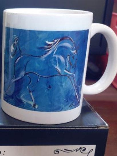 White 11oz mug 'blue horse'