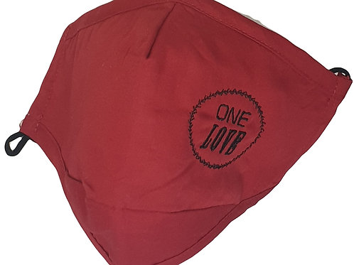 Embroidered 'One Love' Face Mask - RED