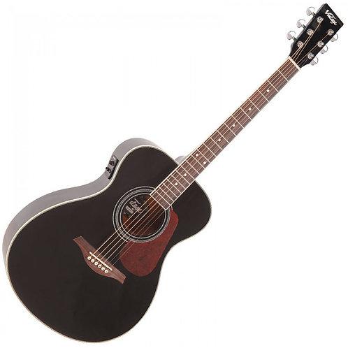 Vintage Electro- Acoustic Folk Guitar ~ Gloss Black