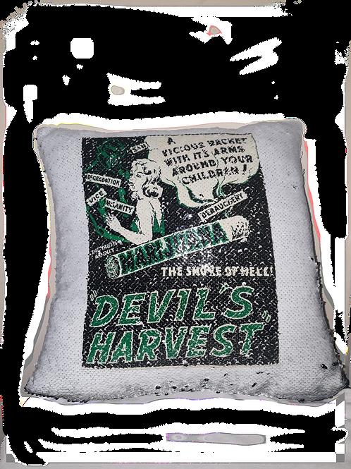 Devils harvest sequin cushion cover