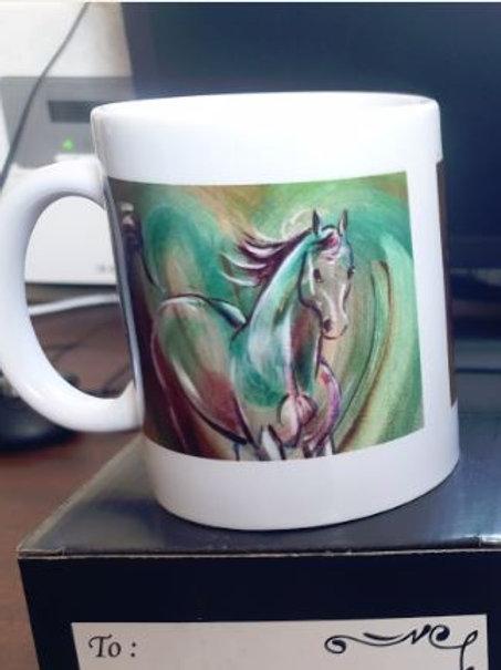 Black 11oz colour changing mug 'Horse - Orange'