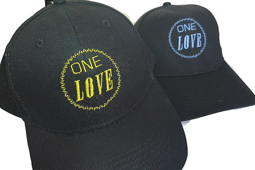 Embroidered 'One Love' Baseball Cap - BLACK