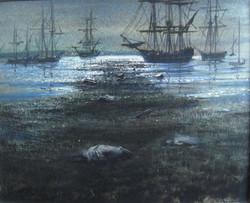 """""""Johnny Tremain, Tea Drifting in the Boston Harbor"""""""