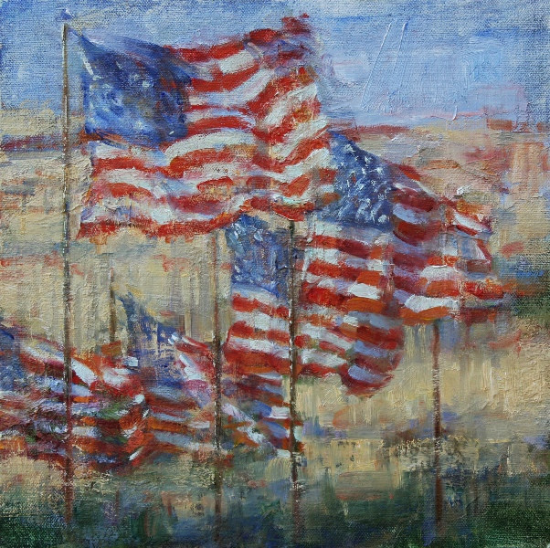 10501 American Flags in Normandy 12x12 OC
