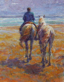 10513 Man and His Horses 28x22 OC