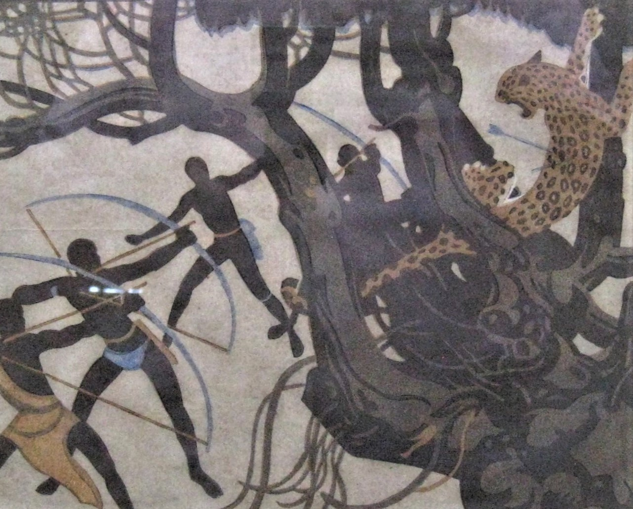 """African Warriors Hunting a Leopard"""