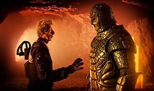 Richard Ashton as Friday the Ice Warrior with Peter Capaldi as Doctor Who