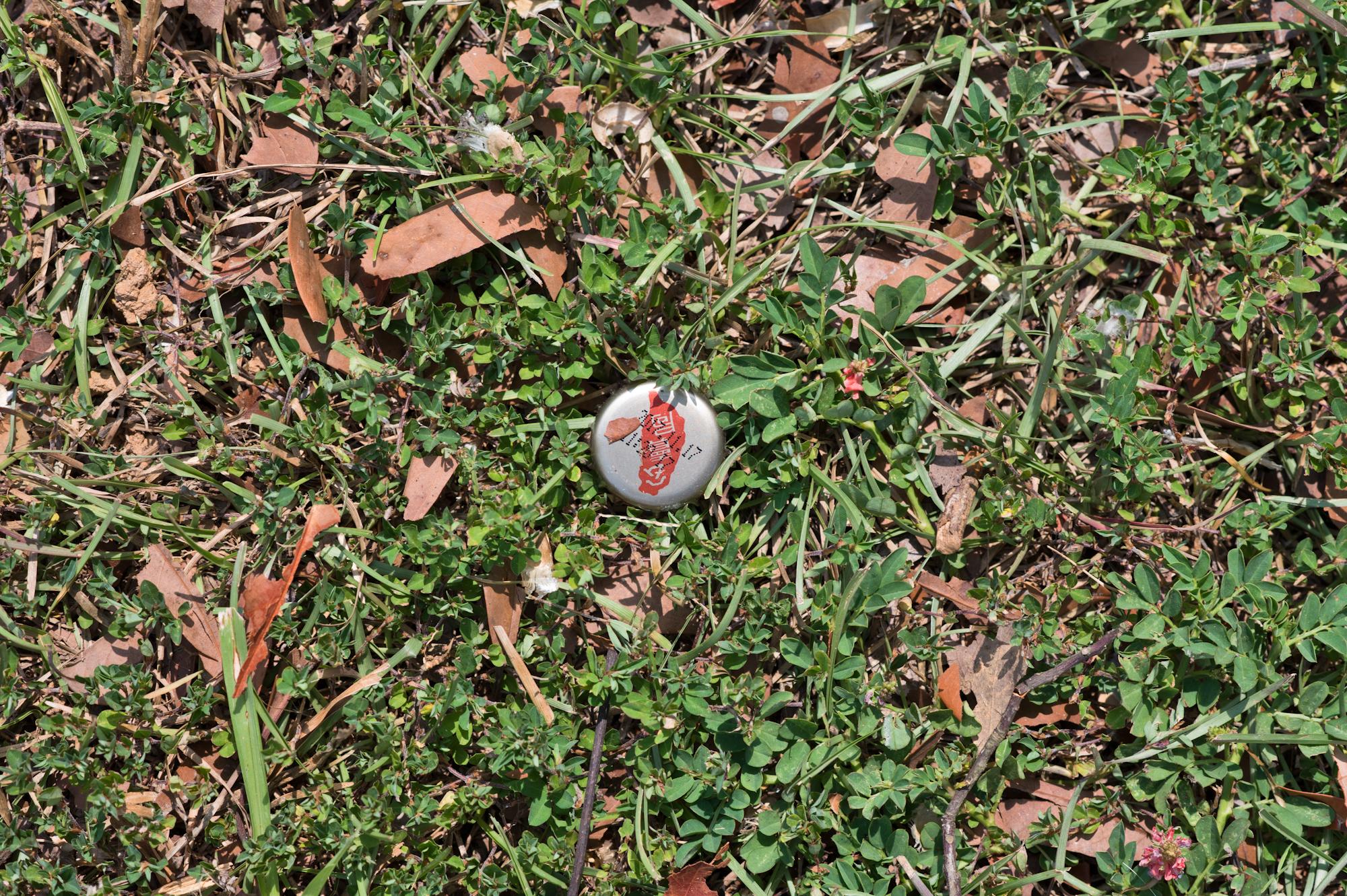 暨南大學校園草地上的垃圾。南投埔里桃米