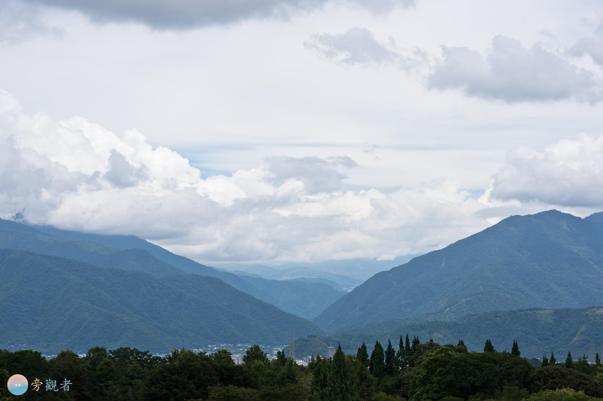 埔里盆地朝向合歡山方向的山峰。南投埔里桃米