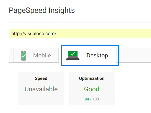 Desktop PageSpeed