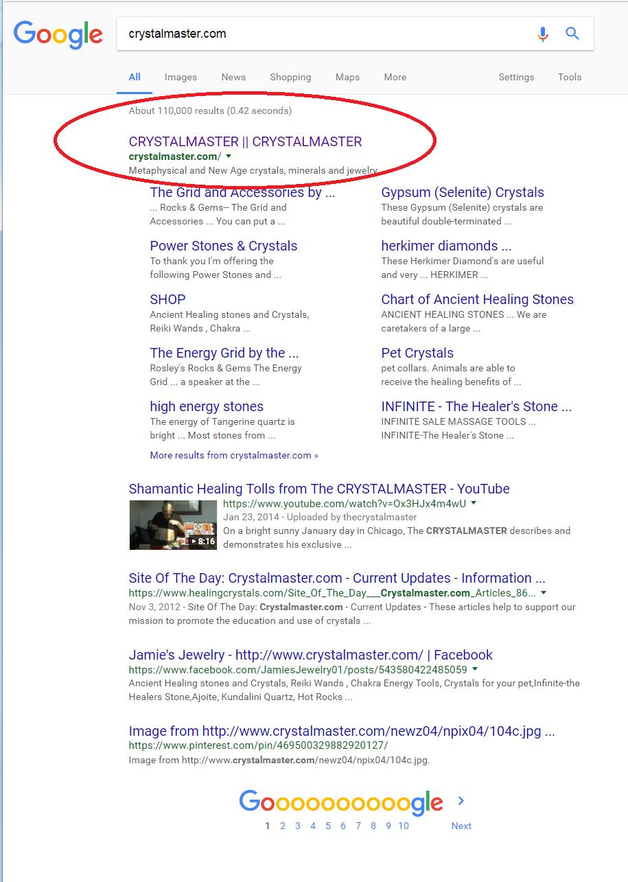 CrystalMaster.com #1 Google Ranking