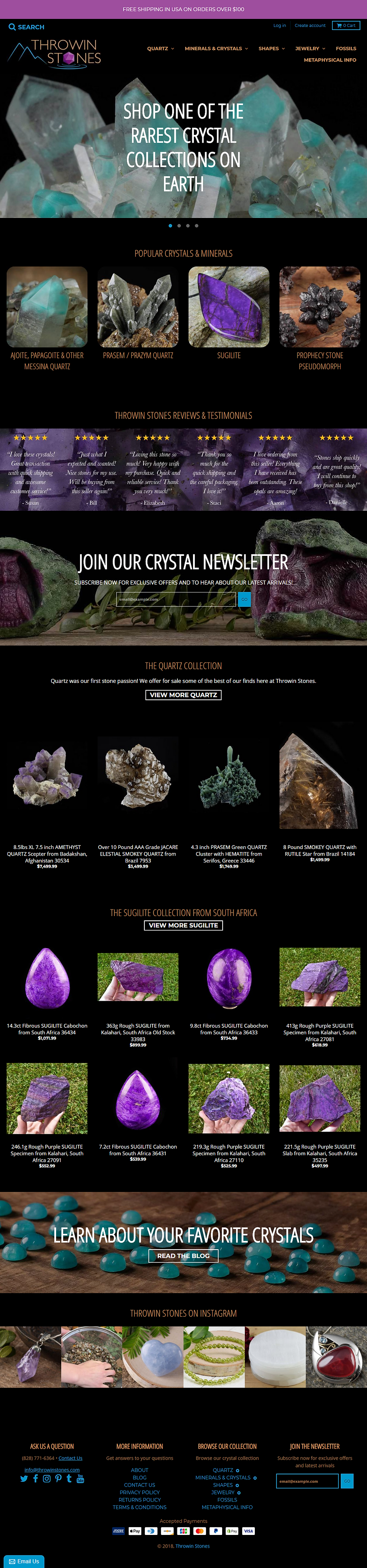 Throwin Stones Landing Page - Ecommerce