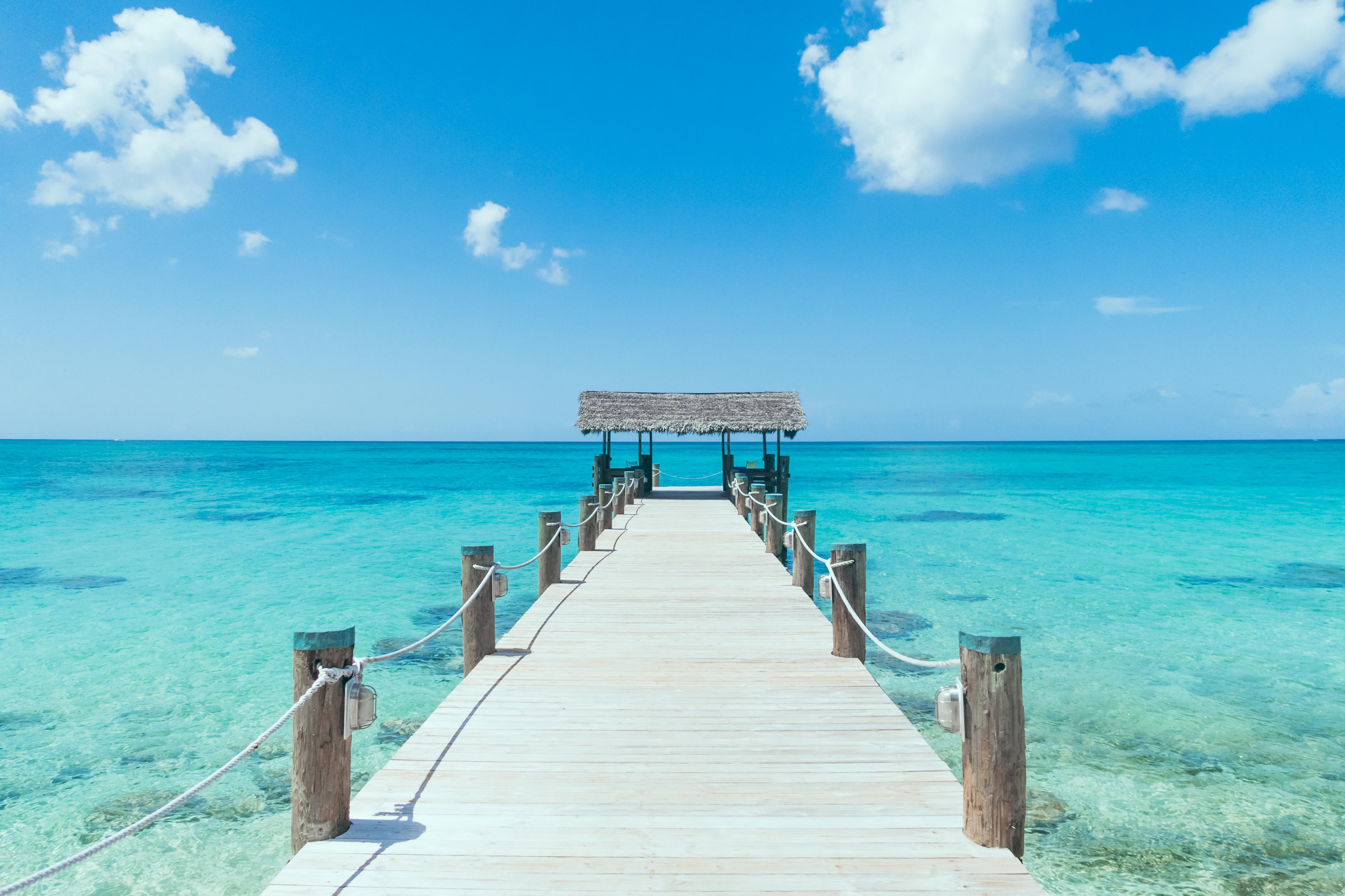 Island Pier On Perfect Tropical Beach Wi