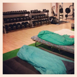 Sleeping at the gym in Norway