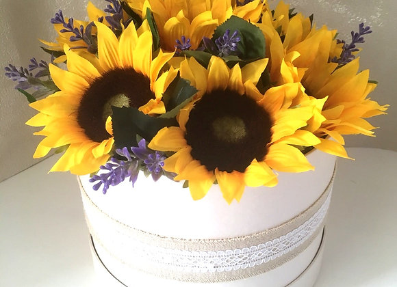 Sunflower and Lavender Hatbox