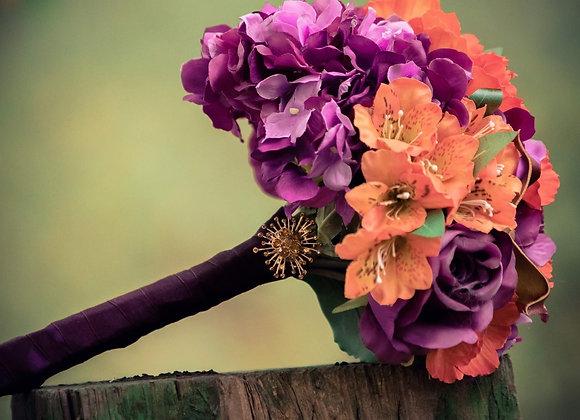 Autumnal  Bouquet - Orange Burgundy and Purple