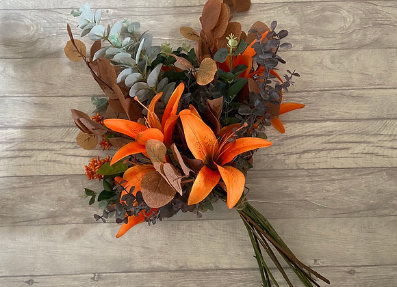 Autumnal Lily and Eucalyptus Bunch
