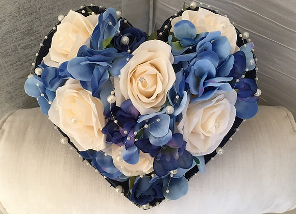 Medium Heart Shaped Bouquet in Blue, Navy and Champagne