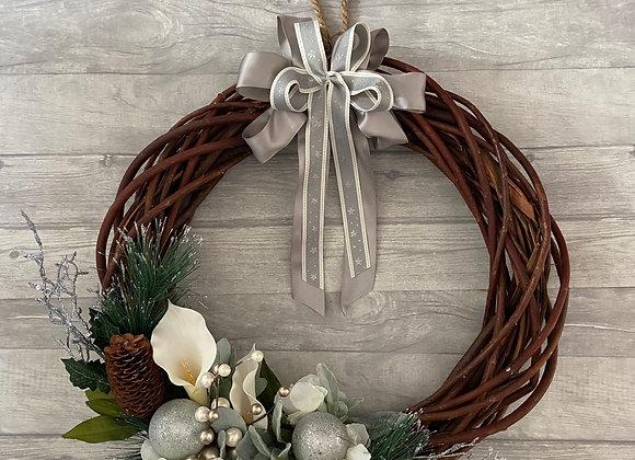 Extra Large Christmas Door Wreath Silver Grey